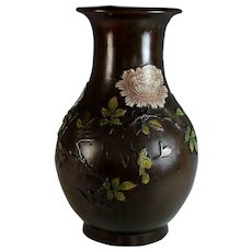 Large Antique Chinese Champleve Bronze Vase Peonies, Signed