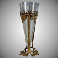 Vintage Bronzed Metal and Glass Vase
