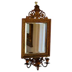 Fabulous Antique Bronze Candle Sconce, Mirror, Girandole