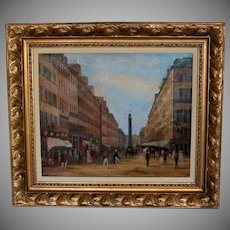 Oil on Canvass View of the Place Vendome, Paris signed and dated