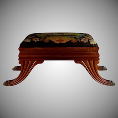 Regency Foot Stool with Stylized Needlepoint Cover