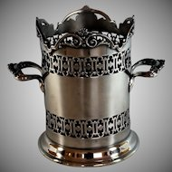 Antique English Silverplate Reticulated Wine Holder Coaster, Tall