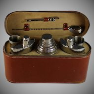 Mid Century US Zone Germany Silverplate Cocktail Bar Set with Case Silver Plate
