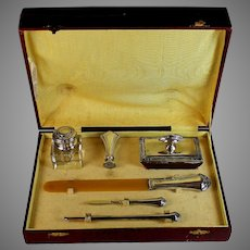 Antique Desk Set, 800 Silver Inkwell, Page turner, Pen and Blotter