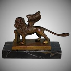 Antique Grand Tour Bronze Winged Lion of St. Mark Sculpture on Portoro Marble Plinth