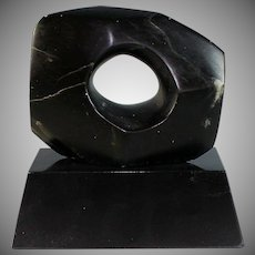 Therese Censor Hand Carved Black Marble Abstract Sculpture Space Within