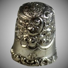 Antique Floral Sterling Silver Thimble