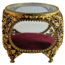 Antique Ormolu Beveled Glass Jewelry Trinket Box Casket with Flowers Filigree