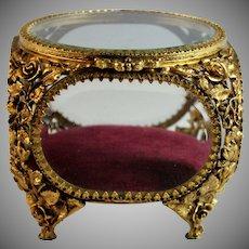 Antique Ormolu Beveled Glass Jewelry Trinket Box Casket with Flowers Filigree