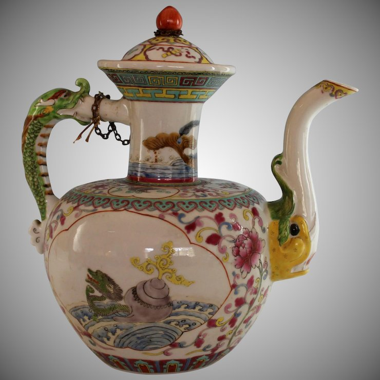 Antique Chinese Ceramic Teapot Tea Pot With Mythical Beasts Juliet