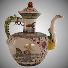 Antique Chinese Ceramic Teapot Tea Pot with Mythical Beasts