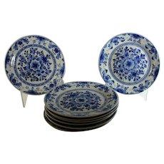 "Eight Hand-painted Delft Blue 9 3/4"" Plates Porceleyne Fles"