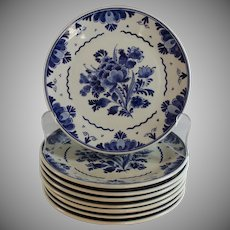"Handpainted Delft Blue 7 1/4 "" Plates Porceleyne Fles Set of 8"