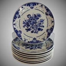 """Handpainted Delft Blue 7 1/4 """" Plates Porceleyne Fles Set of 8"""