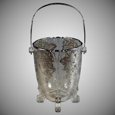 Heisey Elegant Glass Footed Ice Bucket With Silver Overlay
