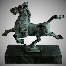 Gansu Flying Horse Bronze Figurine on Green Marble Base