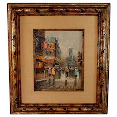 Oil on Canvas Parisian Street View by French artist Jacques Marchand (1932-)