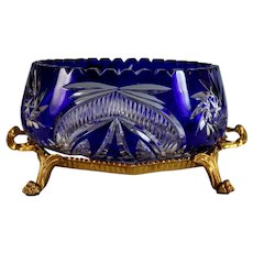 Cut-To-Clear Cobalt Blue Bohemian Glass Bowl/Centerpiece w/Brass Ormolu Stand