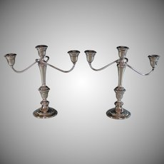 Vintage Gorham Colonial Silver Plate Candelabra Pair 3 Light Convertible Candle Holders