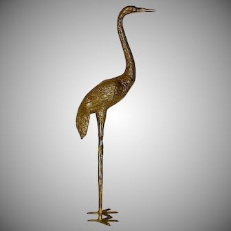 "Large Cast Bronze Brass Crane Sculpture 43"" Inside or Outside in Garden"