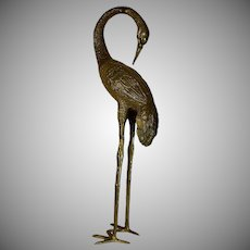 Large Cast Bronze Brass Crane Sculpture Preening Inside or Outside in Garden.