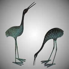 Set of Cast Bronze Cranes Sculptures Inside or Outside in Garden