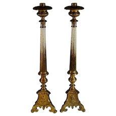 """Set of Tall Brass Church Pillar Candle Sticks Holders Candlestick21"""""""