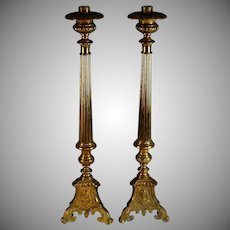 Set of Tall Brass Church Pillar Candle Sticks Holders Candlestick  21""