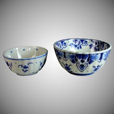 "Two Hand-painted Porceleyne Fles Delft Blue Bowls 7 1/4"" and 5 3/4"""