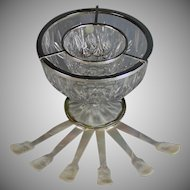 Vintage Crystal & Silver plate Caviar on Ice Bowl + MOP spoons