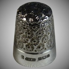 Antique English Floral Sterling Silver Thimble