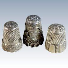 Three Unique Antique Sterling Silver Thimbles