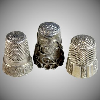 Three Unique Antique Sterling Silver Thimbles