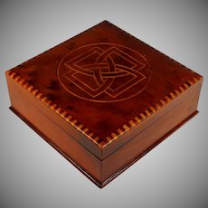 Antique Wood Box with Inlaid Celtic Knot
