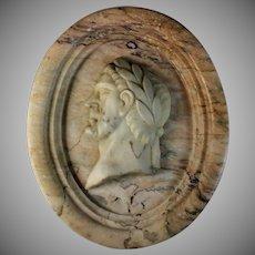 Antique Grand Tour Marble Relief Portrait of a Roman Emperor