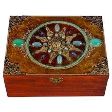 Antique French Jeweled Jewelry Box Velvet Lining