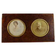 Antique French Double Inlaid Amboyna Wood Photo Frame