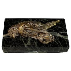 Antique French Presse Papier, Bird on Black Veined Marble, Paperweight Sculpture