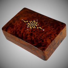 19th Century French Amboyna Jewelry Box with Mother of Pearl and Wood Inlay