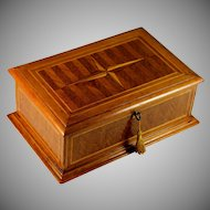 Antique French Marquetry Box with Key
