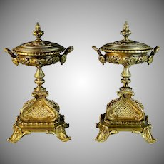 Pair of Antique French Gilded Bronze Garnitures Urns with Lids