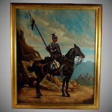 Oil on Canvas Painting of a French Napoleonic Era Lancer