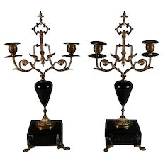 Antique French Bronze and  Black Marble Candelabra Set of 2