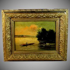 French School Barbizon Style Oil on Board Painting of a River Scene