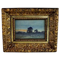 French School Landscape and Sunset Watercolor-Signed Faubert