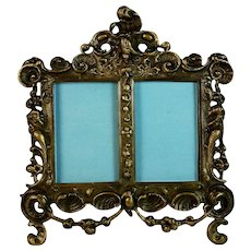 Antique French Bronze Double Photo Picture Frame with Scroll Top