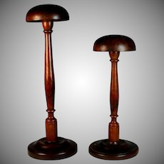 Set of Antique French Wood Hat Stands Millinery