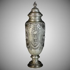 Antique French Signed Repousse Pewter Urn with Lid