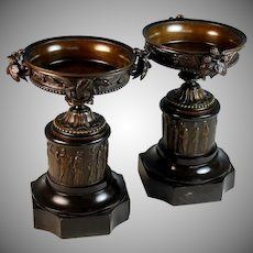 2 Antique French Bronze and Marble Garnitures Urns Roman Theme