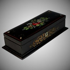 Genuine French Napoleon III Ebonized Dresser Box with Inlaid Mother of Pearl